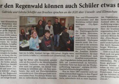Reportagem sobre a semana de palestras no jornal local, Rhein-Neckar-Zeitung!