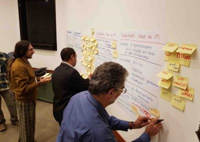Participantes preenchem quadro de capacidades. Foto: Miriam Prochnow.