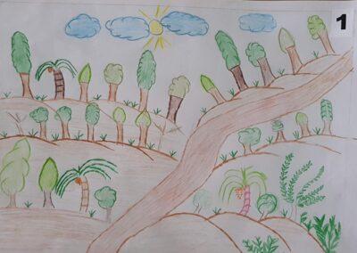 """Desenho de Maiara Foss para o do concurso """"O bosque da escola"""". Foto: Miriam Prochnow."""