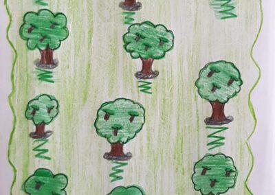 """Desenho de Larissa Fernanda Homem para o concurso """"O bosque da escola"""". Foto: Miriam Prochnow."""