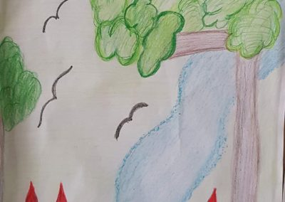"""Desenho de João Lucas Fernandes para o concurso """"O bosque da escola"""". Foto: Miriam Prochnow."""