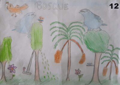"""Desenho de Helena Seemann Amorim para o concurso """"O bosque da escola"""". Foto: Miriam Prochnow."""