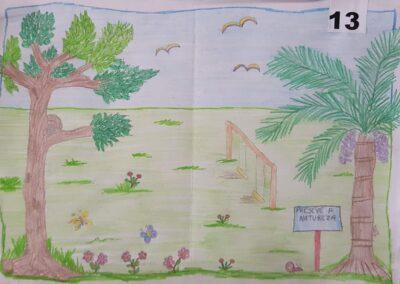 "Desenho de Willian Luiz de Souza para o concurso ""O bosque da escola"". Foto: Miriam Prochnow."