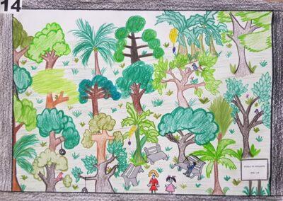 """Desenho de Gustavo Jochem Herbst para o concurso """"O bosque da escola"""". Foto: Miriam Prochnow."""