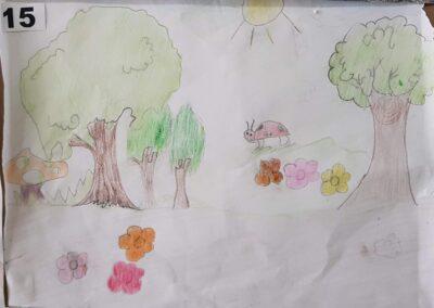 """Desenho de Larissa Seemann para o concurso """"O bosque da escola"""". Foto: Miriam Prochnow."""