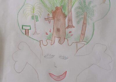 """Desenho de Diego Henrique Sarda para o concurso """"O bosque da escola"""". Foto: Miriam Prochnow."""