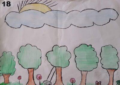 """Desenho de Milena Amorim para o concurso """"O bosque da escola"""". Foto: Miriam Prochnow."""