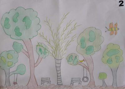 """Desenho de Paola Pezenti para o concurso """"O bosque da escola"""". Foto: Miriam Prochnow."""