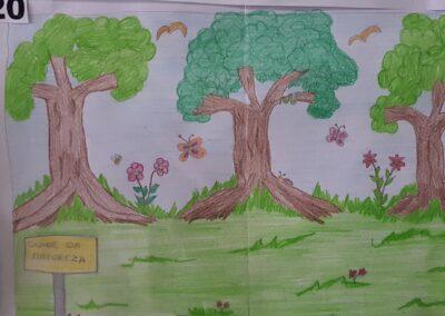 """Desenho de Isabela de Souza para o concurso """"O bosque da escola"""". Foto: Miriam Prochnow."""