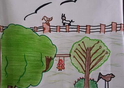 """Desenho de João Victor Nunes para o concurso """"O bosque da escola"""". Foto: Miriam Prochnow."""