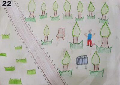 """Desenho de Ivan da Cunha para o concurso """"O bosque da escola"""". Foto: Miriam Prochnow."""