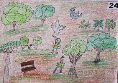 """Desenho de Maria Beatriz Borges para o concurso """"O bosque da escola"""". Foto: Miriam Prochnow."""