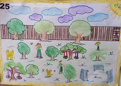 """Desenho de Gabrielli Cristina da Silva para o concurso """"O bosque da escola"""". Foto: Miriam Prochnow."""
