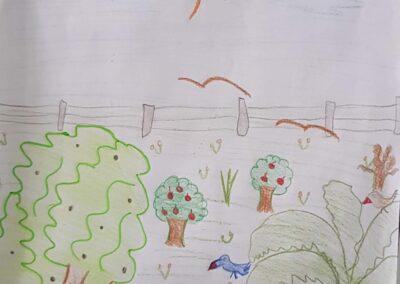 """Desenho de Brenda Mariah Nunes para o concurso """"O bosque da escola"""". Foto: Miriam Prochnow."""