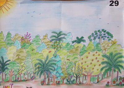 """Desenho de Nicolas Foss, o vencedor do concurso """"O bosque da escola"""". Foto: Miriam Prochnow."""