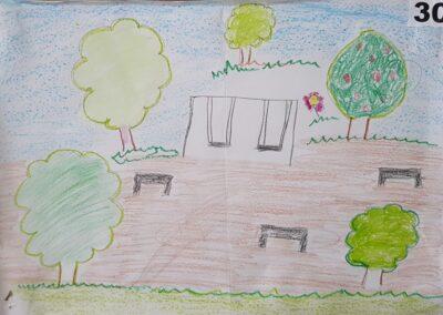 """Desenho de Stefani Voss para o concurso """"O bosque da escola"""". Foto: Miriam Prochnow."""
