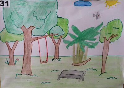 """Desenho de Gabriela Nunes para o concurso """"O bosque da escola"""". Foto: Miriam Prochnow."""