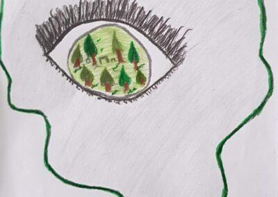 """Desenho de Murilo Kreuch de Freyn para o concurso """"O bosque da escola"""". Foto: Miriam Prochnow."""