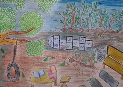 """Desenho de Kauani Cristina Porto para o concurso """"O bosque da escola"""". Foto: Miriam Prochnow."""