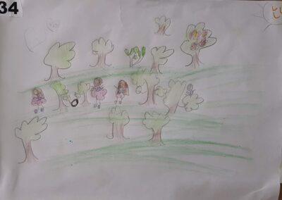 """Desenho de Andrielli Brito Vieira para o concurso """"O bosque da escola"""". Foto: Miriam Prochnow."""