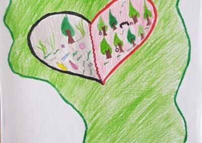 """Desenho de José Otávio Voss para o concurso """"O bosque da escola"""". Foto: Miriam Prochnow."""
