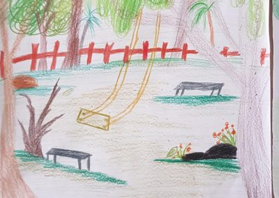 "Desenho de Victor Jochen para o concurso ""O bosque da escola"". Foto: Miriam Prochnow."