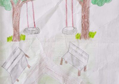 """Desenho de Bruno José de Souza Pezenti para o concurso """"O bosque da escola"""". Foto: Miriam Prochnow."""