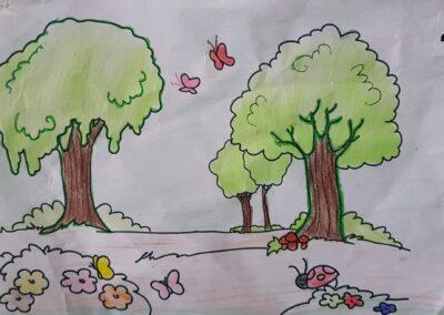 """Desenho de Laís Semann para o concurso """"O bosque da escola"""". Foto: Miriam Prochnow."""