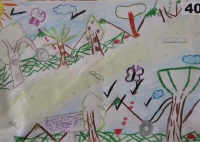"""Desenho de Carla Juliana Alves Paes para o concurso """"O bosque da escola"""". Foto: Miriam Prochnow."""