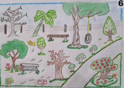 """Desenho de Bryan Faust para o concurso """"O bosque da escola"""". Foto: Miriam Prochnow."""