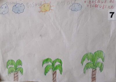 """Desenho de Gabriela Aparecida da Cunha para o concurso """"O bosque da escola"""". Foto: Miriam Prochnow."""