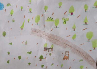 """Desenho de Luana Pezenti para o concurso """"O bosque da escola"""". Foto: Miriam Prochnow."""