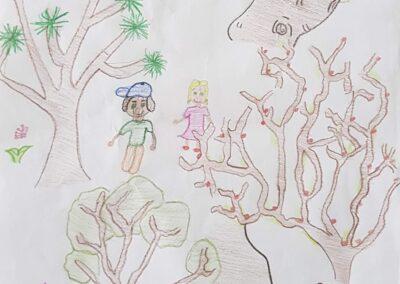 """Desenho de Yasmim Steinhauser para o concurso """"O bosque da escola"""". Foto: Miriam Prochnow."""