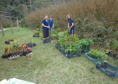Preparação das mudas para o plantio na RPPN. Foto: Edilaine Dick.