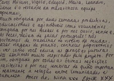 Carta escrita pelas jovens ao final do estágio.