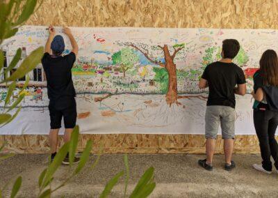 Pintura colaborativa sobre o direito a uma cidade verde. Foto: Carolina Schaffer.
